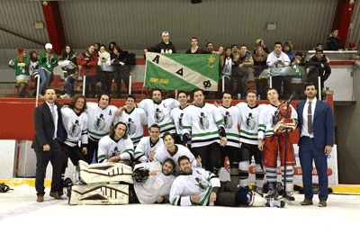 Alpha Delta Phi wins hockey game for charity